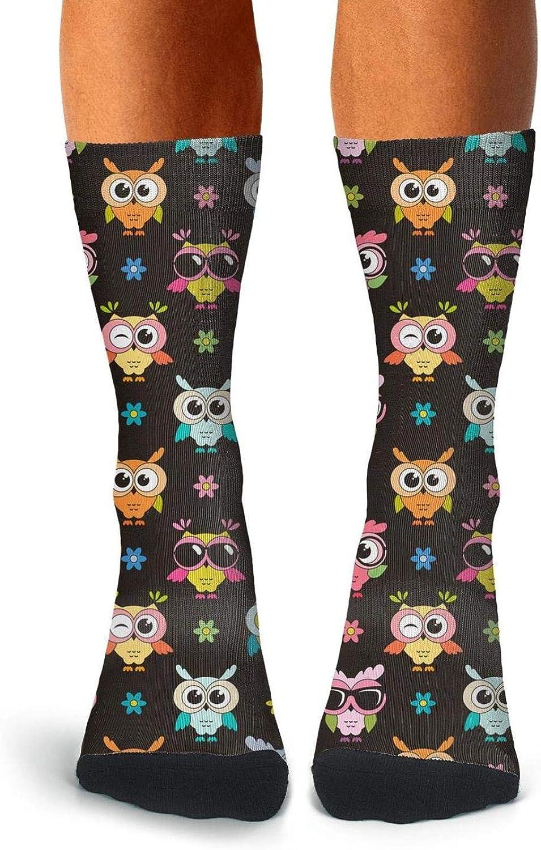 Adult Animal Forest Foxes Deer Elk Owl Socks Warm Crew Compression Socks