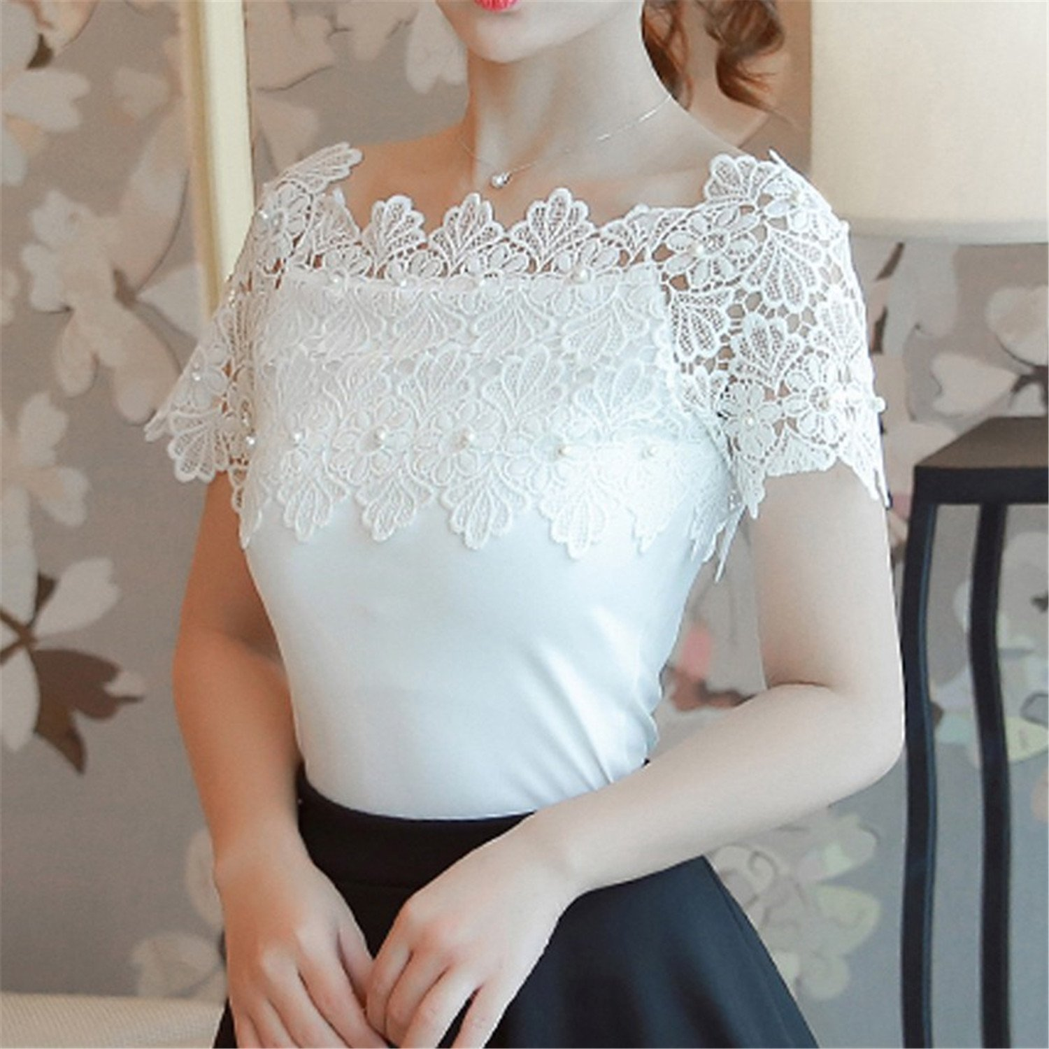 OUXIANGJU Women Shirts White Lace Beading Tops Lady Renda Patchwork Sexy Hollow Out Blouse at Amazon Womens Clothing store: