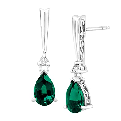 Amazoncom 1 34 Ct Created Emerald Drop Earrings With Diamonds In