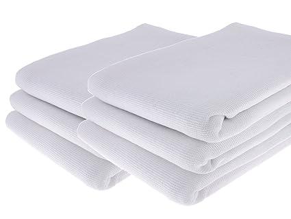 GARIELLA 6 Paños Blanco de 100% algodón/70 x 50 cm/Toalla/