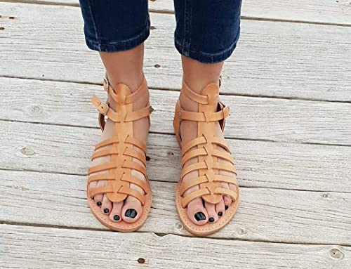 toe ring sandals summer shoes classic brown leather sandals brown flats ancient greek sandals leather handmade sandals roman sandals
