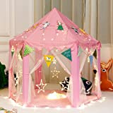 """Girls Princess Play Tent Kids Children Indoor Castle Large Play Tents with Star String Lights and Decorations Banners for Indoor / Outdoor Fun - 55"""" x 55"""""""