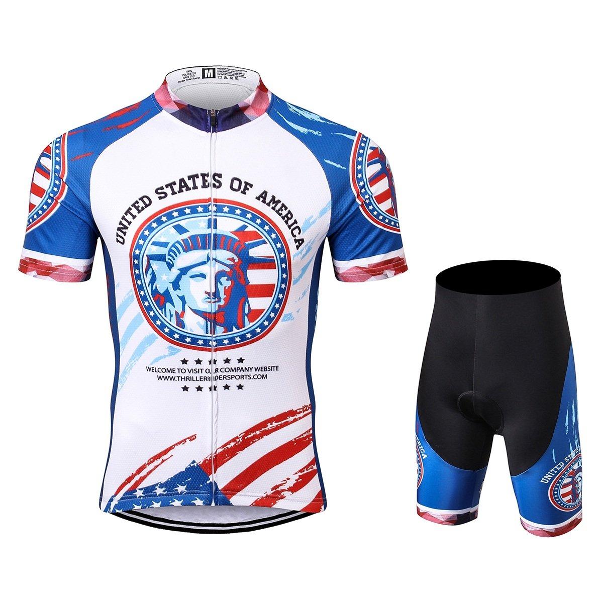 Thriller Rider Sports® Herren USA Flag Sport & Freizeit MTB Fahrradbekleidung Radtrikot