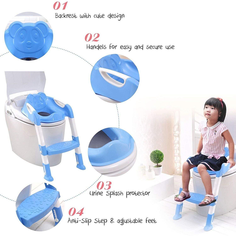 Guilty Gadgets Asiento de inodoro plegable para beb/é con escalera para ni/ños y ni/ñas color azul ajustable