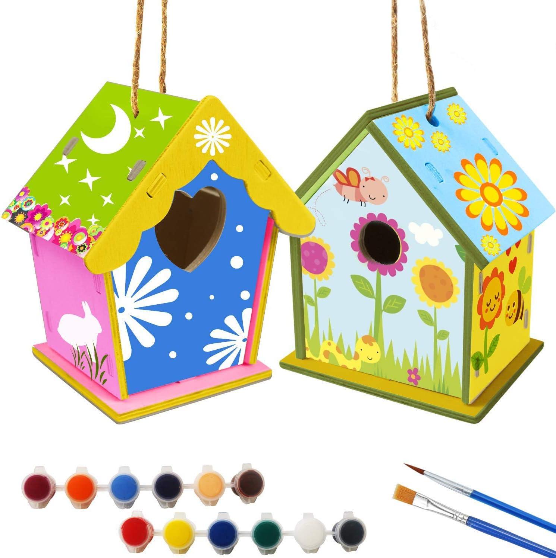 xinxintai Kit de Bricolaje para Casitas de pájaros para niños, Paquete de 2 Casitas de pájaros de Madera, decoración Artesanal de Madera para Actividades en el hogar