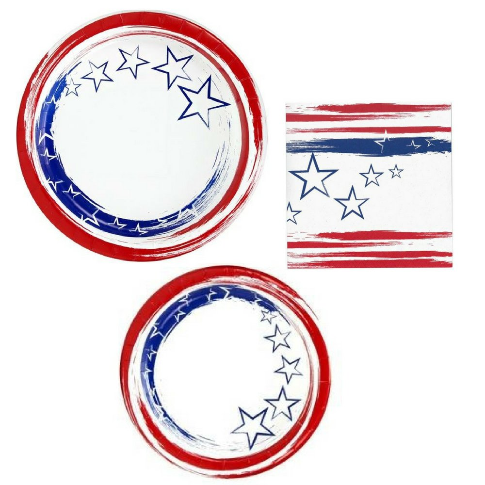 Patriotic Disposable Dinnerware/Party Supplies - Bundle - Dinner & Dessert Plates, Napkins for 24 Guests