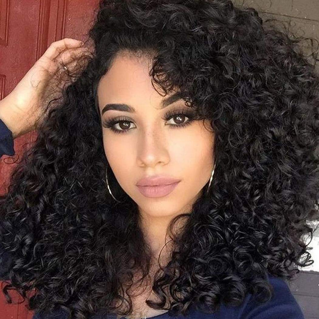 BLUPLE Loose Curly Natural Black Heat Resistant Synthetic Lace Front Wig Half Hand Tied Replacement Full Wigs Free Part with Baby Hair for African American (24 inches, Loose Curly,#1B)