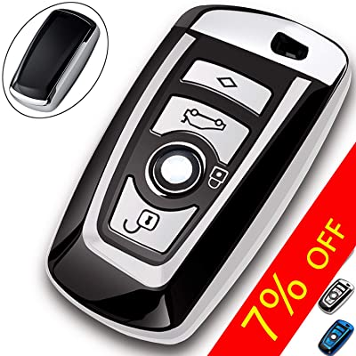 COMPONALL Key Fob Cover for BMW, Key Fob Case for BMW 1 3 4 5 6 7 Series X3 X4 M5 M6 GT3 GT5 Remote Control Key Premium Soft TPU Anti-dust Full Protection Silver: Automotive