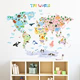 Decowall DLT-1615 Animal World Map Peel and Stick Nursery Kids Wall Decals Stickers