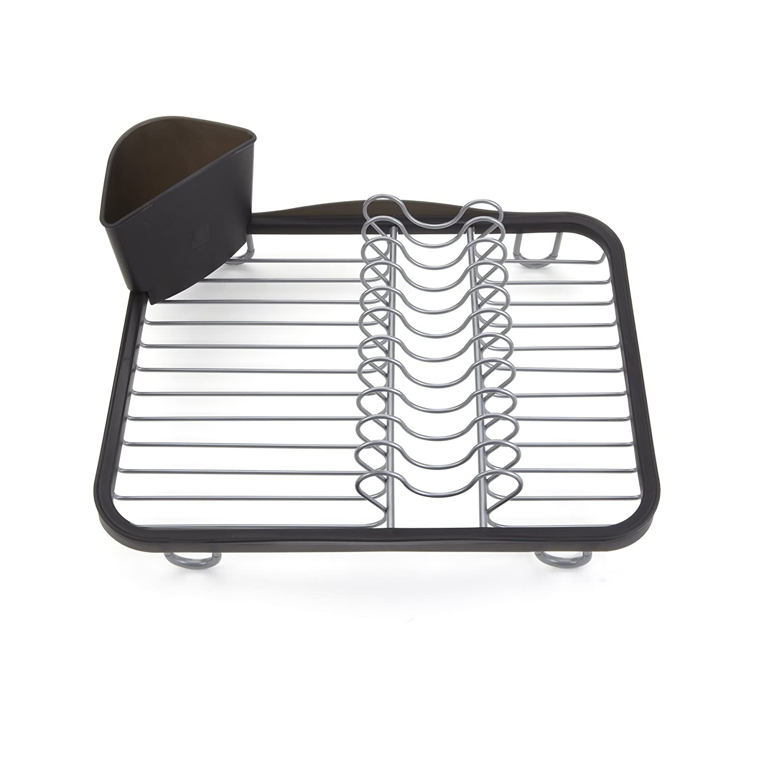 Umbra Sinkin Dish Drying Rack – Dish Drainer Kitchen Sink Caddy with Removable Cutlery Holder, Fits In Sink or on Countertop, Black/Nickel