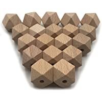 Coskiss 50PCS Faceted Beech Wood Geometric Bead,10mm Unfinished Natural Polygon Hexagon Wooden Beads for DIY Teether…