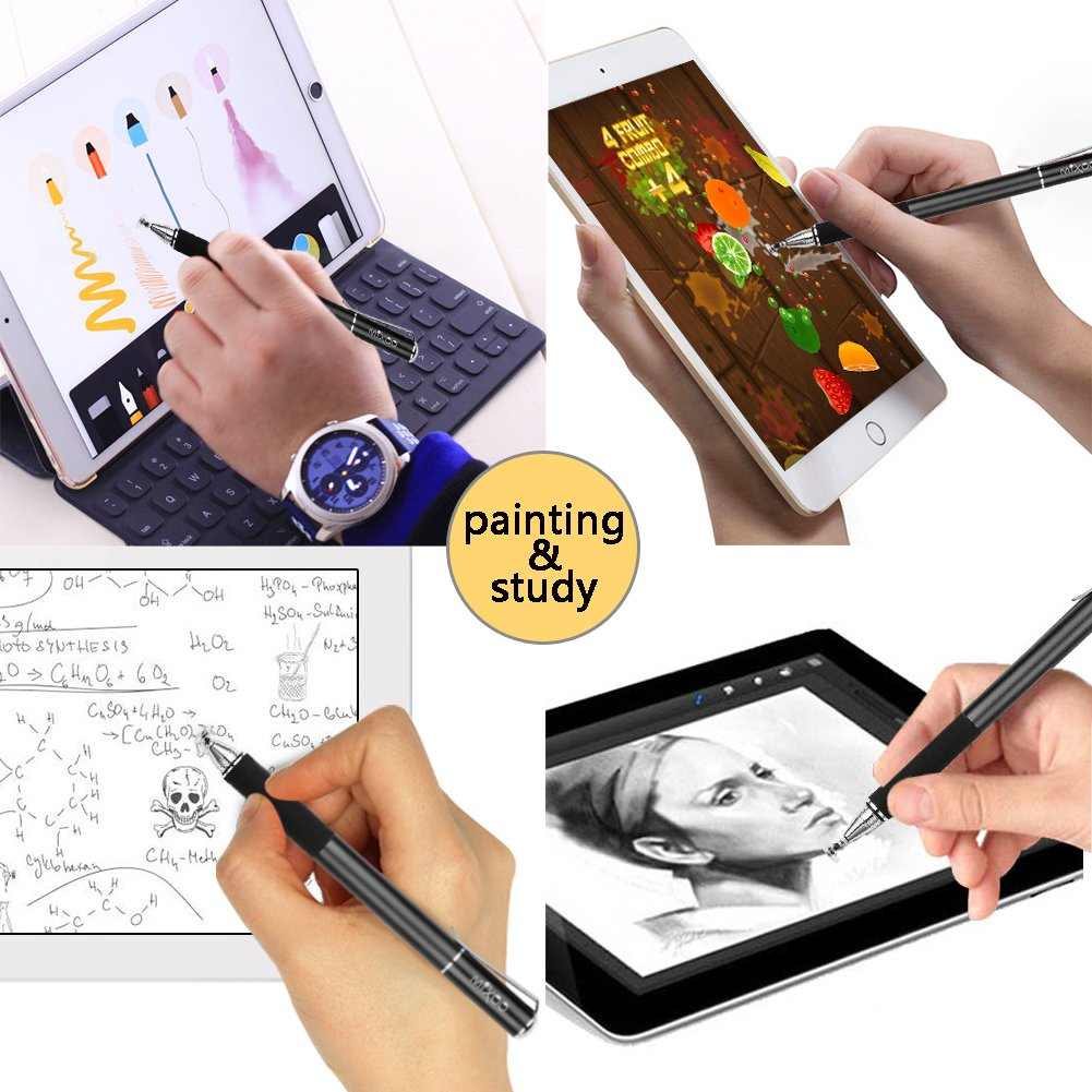 1 Fiber Tip kompatibel f/ür Smartphones /&Tablets Apple iPhone Mixoo Stift Pr/äzision Disc Eingabestift Touchstift Stylus 2 in 1 Kapazitive Touchscreen Stift mit 2 Disc Tip iPad Mini iPad