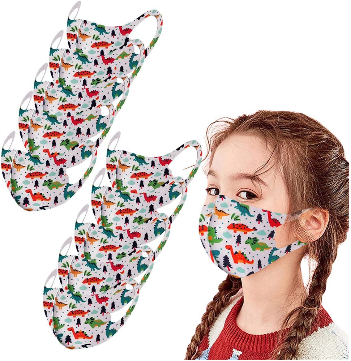 Thenxin Reusable Childrens Dustproof Face Protection Washable Breathable Face Protective 10PCS,A
