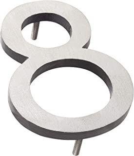 "product image for Montague Metal Products MHN-6-F-BK2-8 Solid Brushed Aluminum Modern Floating Address House Numbers, 6"", Satin Nickel Powder Coated Black Two-Tone"