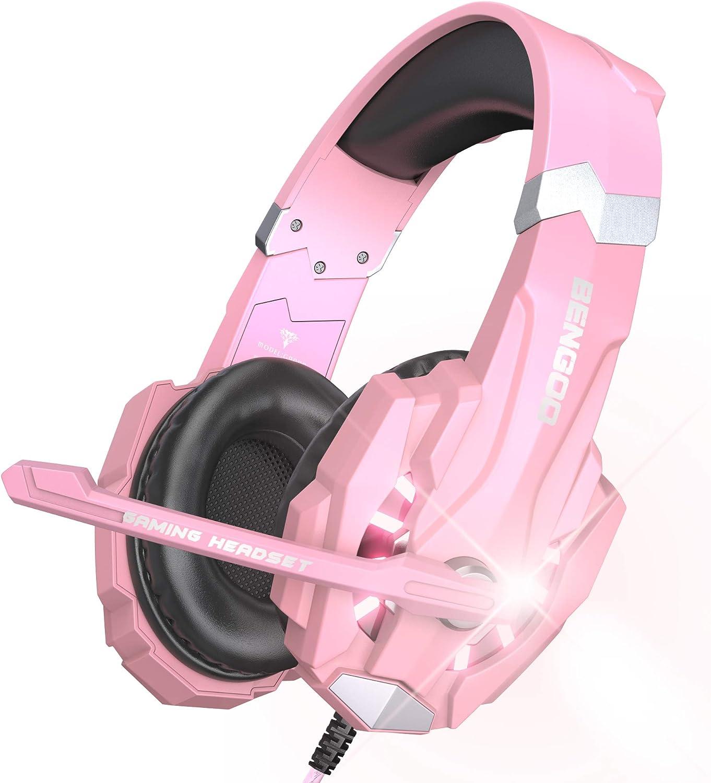 Auriculares BENGOO G9000  para PS4 PC Xbox One -Rosa