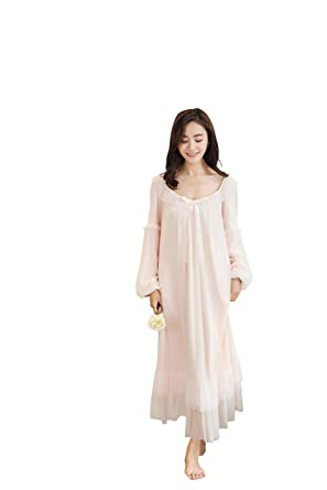 d2c2fbbe1a1c7 Soudoog Ladies Women's Long Sleeve Victorian Cotton Flannel Lace Satin  White Pink Nightdress Pajamas Nightwear Sleepwear
