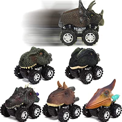 Toy Cars-Dinosaur Toys ,toys for 2 3 4 5+ Year Old Boys Girls 6 Pack Mini Dino Cars with Big Tire toddler toys for boys age 2 3 4 5 gifts for 2-10 year old boys Pull Back Vehicles Toys for kids: Toys & Games