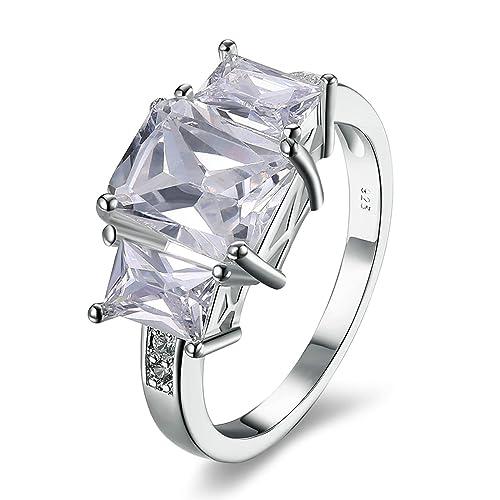 Adisaer mujeres anillos chapado en plata esmeralda Corte Cúbico Zirconia Promesa Bandas de anillos de boda para novia: Amazon.es: Joyería