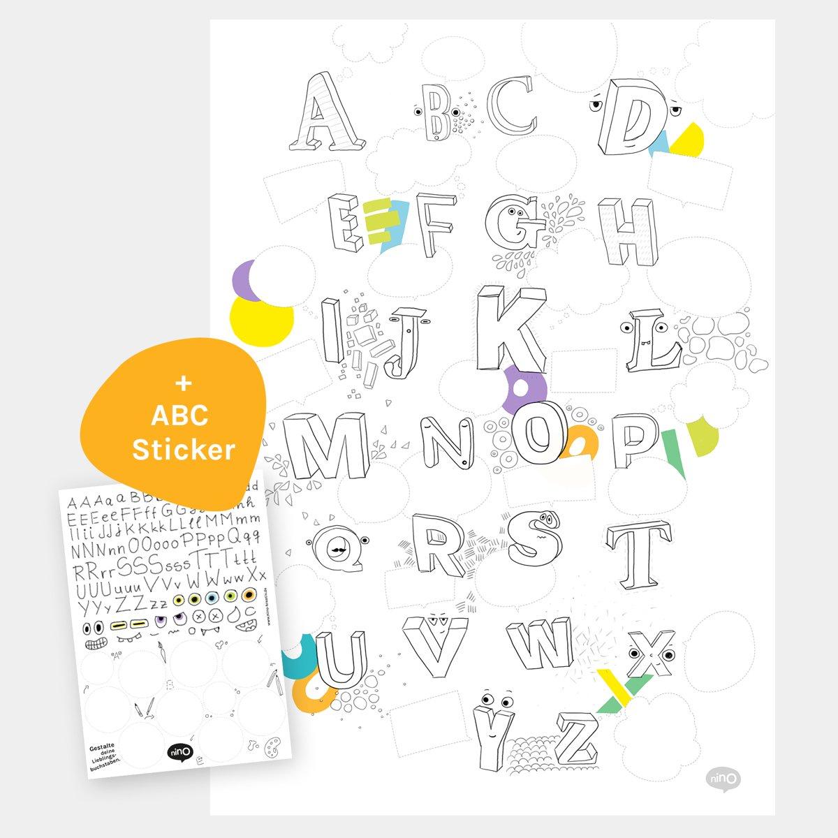 Kreatives ABC-Poster (A2) für Kinderzimmer, Kita oder Schule ...