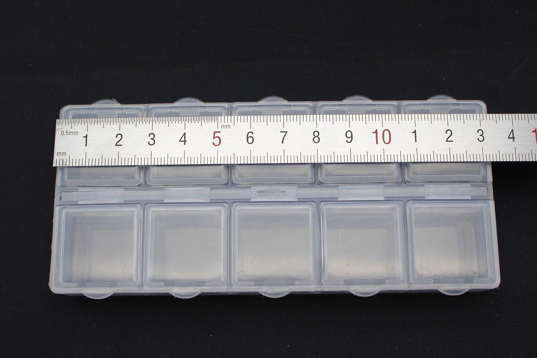 2/pcs Perles de bison Conteneur Bo/îte en plastique 10/compartiments Crochets de stockage de p/êche /à la mouche Bo/îte daccessoires 132/x 58/x 20/mm