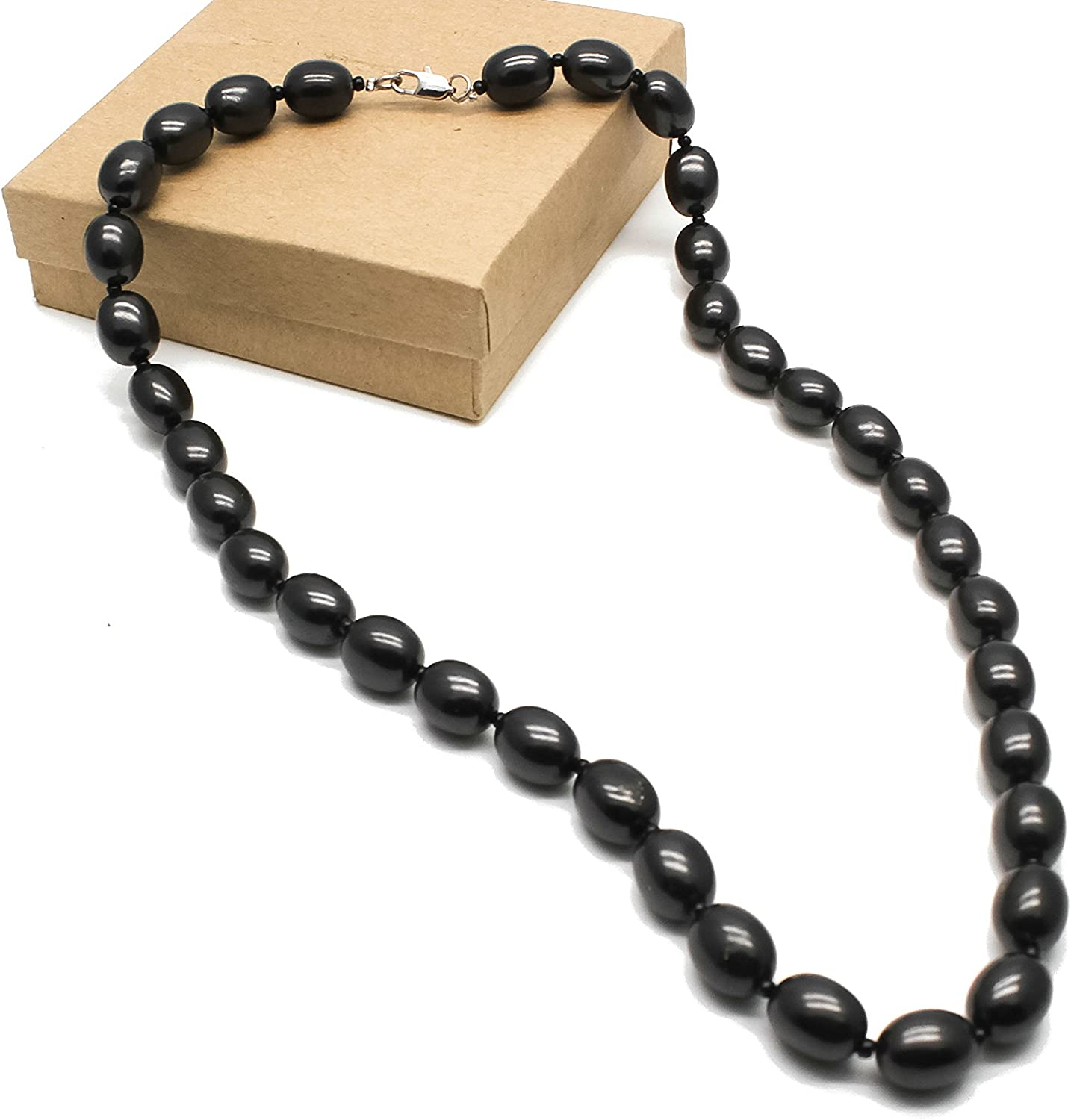 Karelian Heritage Shungite Beaded Necklace Chakra Balancing Vibrational Healing