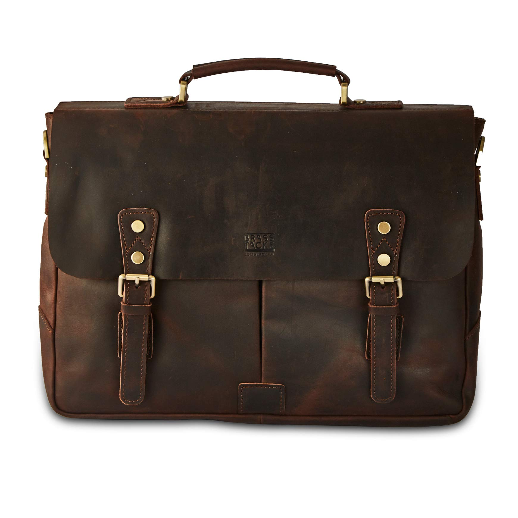 BRASS TACKS Leathercraft Men's Full Crazy Horse Leather 15.6''Laptop Briefcase Vintage Buckle Strap Messenger Bag