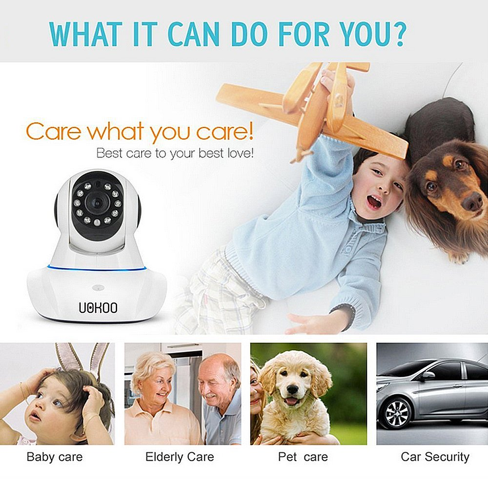 IP Camera, UOKOO 720P Wireless Security Camera Internet Surveillance Camera with Pan/Tilt and 2-Way Audio use for Pet Monitor, Puppy Cam, Baby Monitor and Nanny Camera C42 by UOKOO (Image #7)