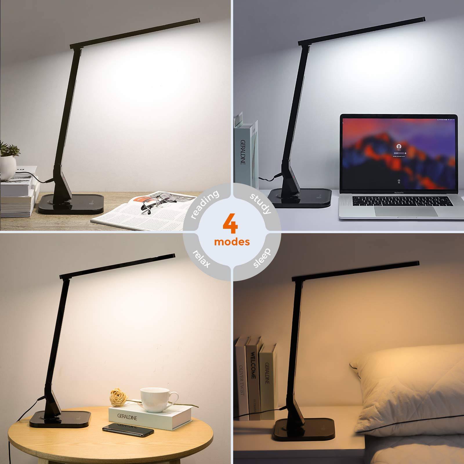 TaoTronics LED Desk Lamp with USB Charging Port, 4 Lighting Modes with 5 Brightness Levels, 1h Timer, Touch Control, Memory Function, Black, 14W, Official Member of Philips EnabLED Licensing Program by TaoTronics (Image #6)
