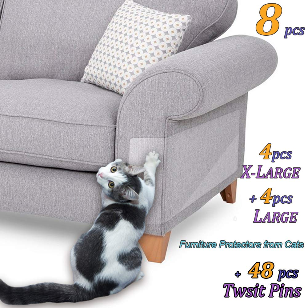 8 Pcs Furniture Protectors from Cats, Cat Scratch Deterrent, Couch Protector 4 Pack X-Large (17''L 12''W) + 4 Pack Large (18''L 9''W) Cat Repellent for Furniture, Stop Pets from Scratching Furniture Couch