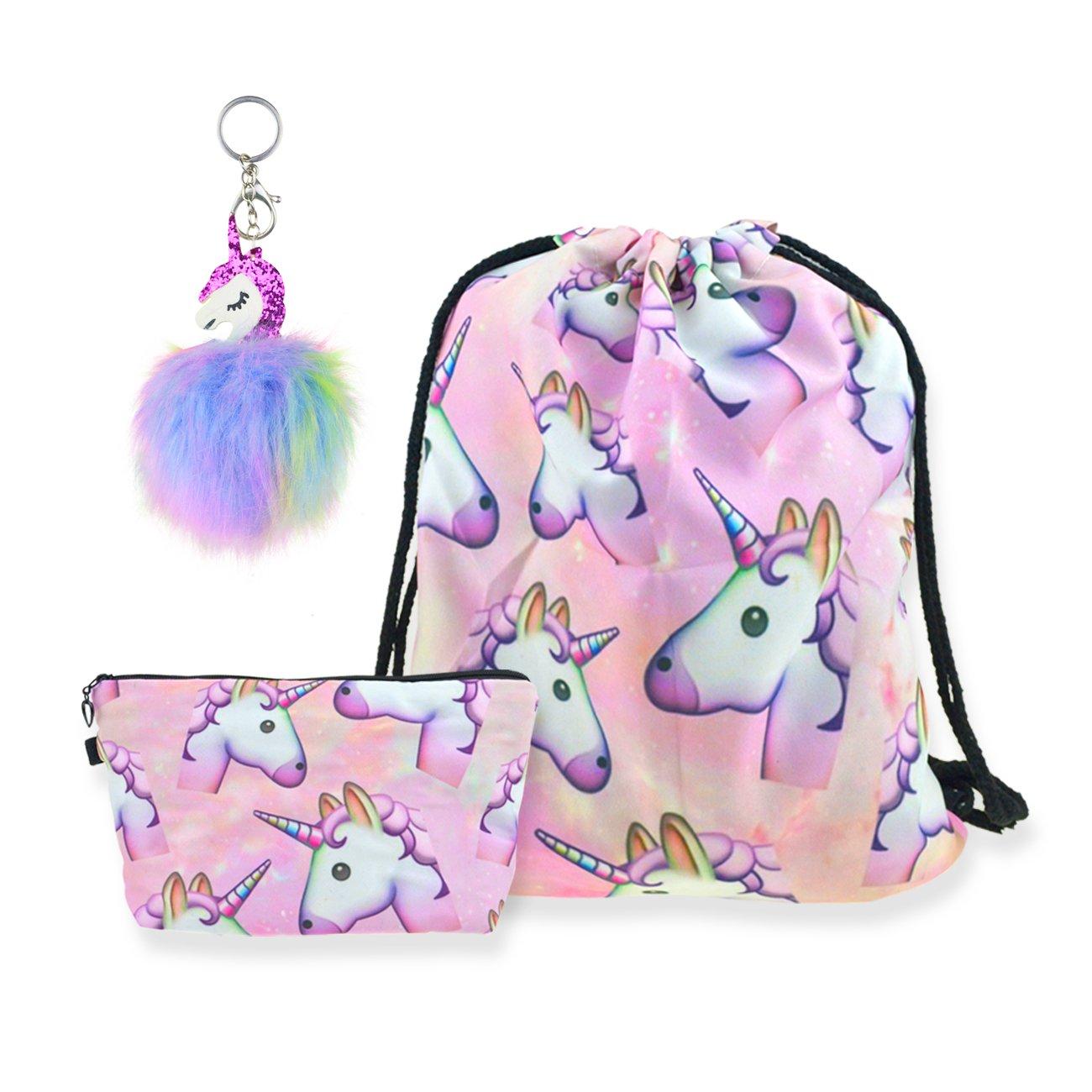 DRESHOW 3 Pack Unicorn Drawstring Backpack/Make up Bag/Fluffy Key Chain Pendant Key Ring for Girls
