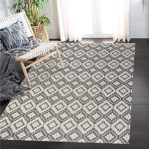 Uphome Geometric Area Rug 4'x6' Grey Cotton Diamond Throw Rugs Boho Hand Woven Indoor/Outdoor Collection Flatweave Rug Washable Moroccan Print Floor Mat Carpet for Bedroom Living Room