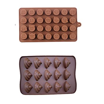 Emoji Cubito de hielo bandeja de Chocolate molde de silicona para Candy Jelly para galletas moldes para horno eléctrica: Amazon.es: Hogar