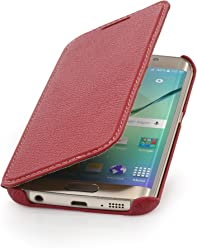 StilGut Housse pour Samsung Galaxy S6 Edge en Cuir véritable à Ouverture latérale, Rouge