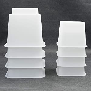 """HomeRoots 3"""", 5"""" or 8"""" White, Adjustable Bed Furniture Legs, Heavy Duty Plastic - Bed Risers Set of 4"""