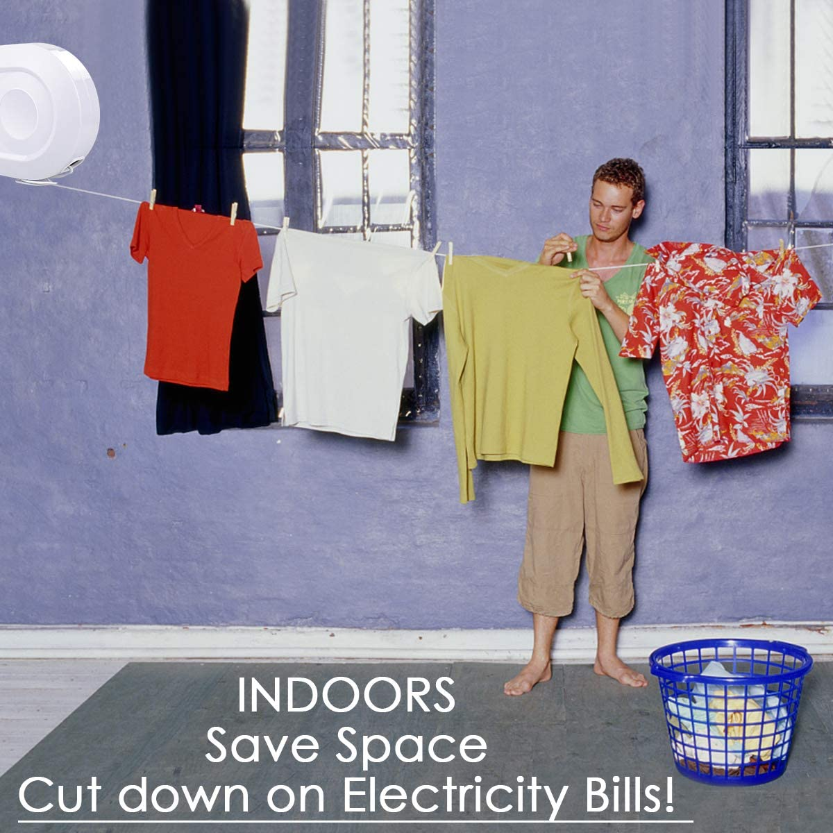 Outdoor Clothes Line Rustproof Steel Plastic Grey Heavy Duty Extending 15 m Muro Long Retractable Washing Line