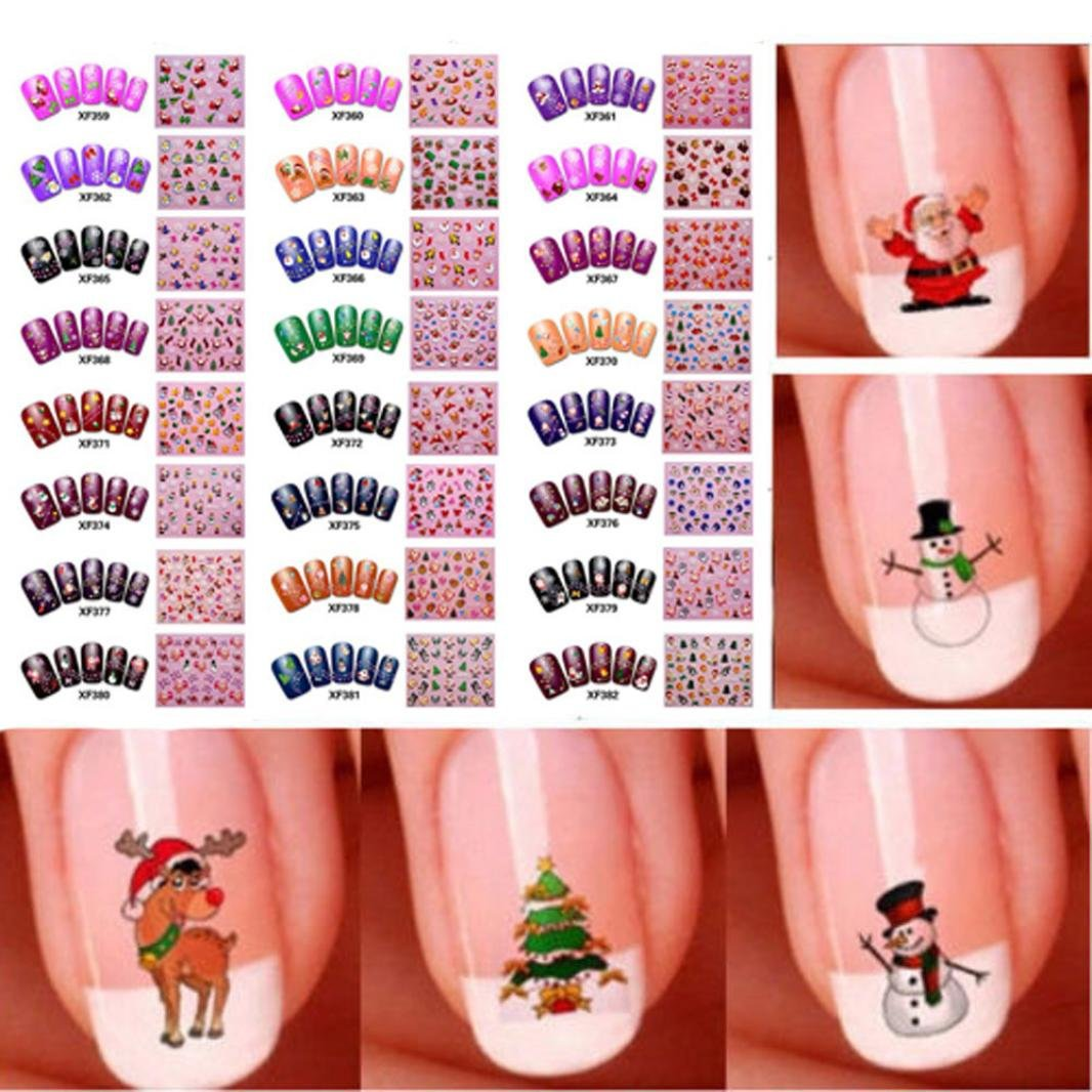 Gotd 50pcs Nail Art Sticker Water Transfer Stickers Christmas 3D Decoration Flower (Multicolor) Goodtrade8