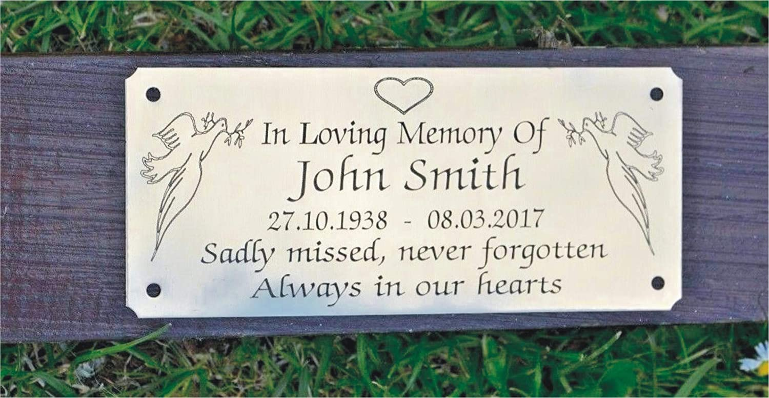 Solid Brass Personalised Memorial Bench Plaque Sign 5 X 2 Engraved Grave Marker