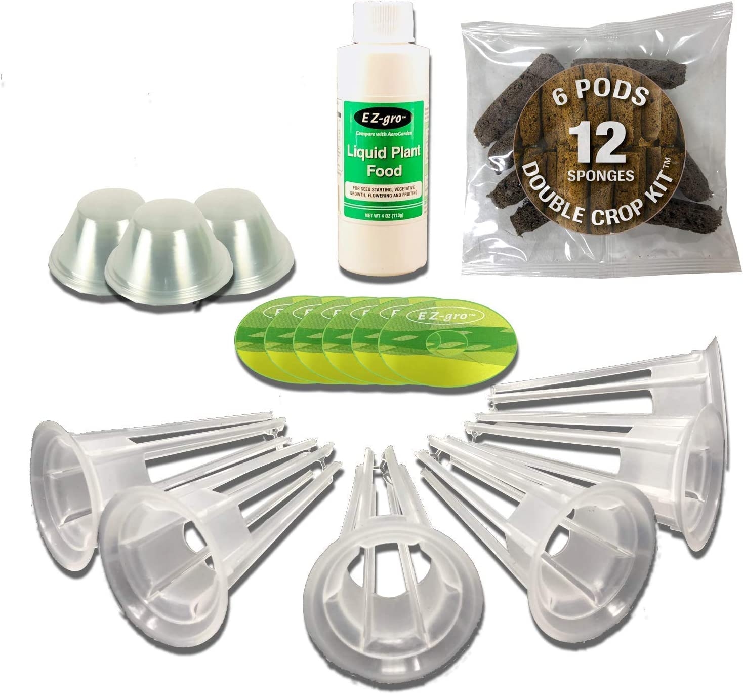 Seedless Double Crop Kit (6 Pod) Compatible with Aerogardens by EZ-gro | Double Sponges for 2 Crops | Peel and Stick Labels | 25% More Fertilizer | Compatible with All Aerogarden Pods