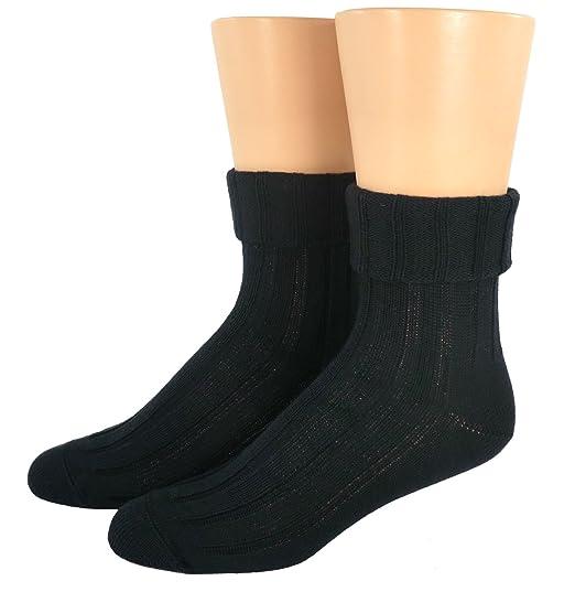 Mujer Calcetines De Descarga 6:2 Costilla lana virgen - Negro, 35/38