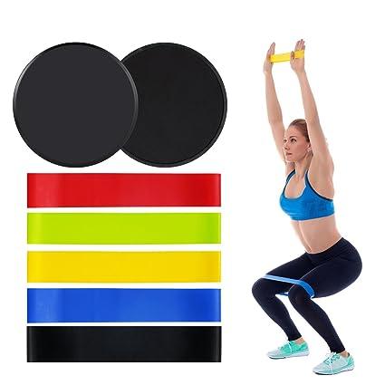 5 Bandas de Resistencia y 2 Sliders ejercicio set para fitness Yoga Pilate