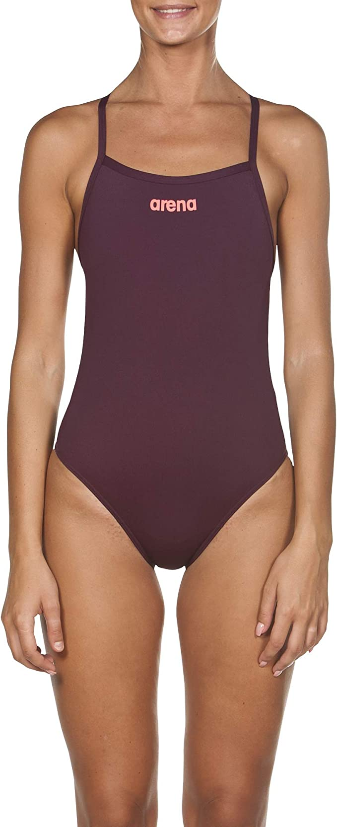 ARENA Woman Solid Swim High Tech One Piece 2A241 Red Wine//Shinny Pink