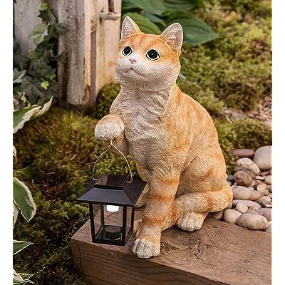 Wind & Weather Cat with Solar Lantern - 11.75 L x 7 W x 14 H : Garden & Outdoor