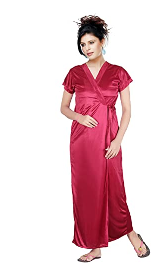 Satyam Women Exclusive Silk Satin Slim And Normal Fit Large Size Two Piece  Nighty (Wine 2b2705d5b