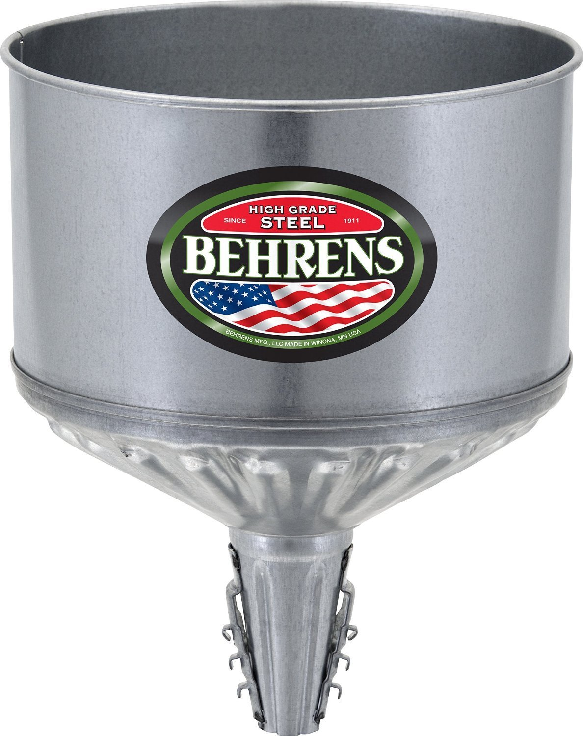 Behrens Lock On Tractor Funnel 1 Gal Galvanized Steel Construction 10.25'' Top