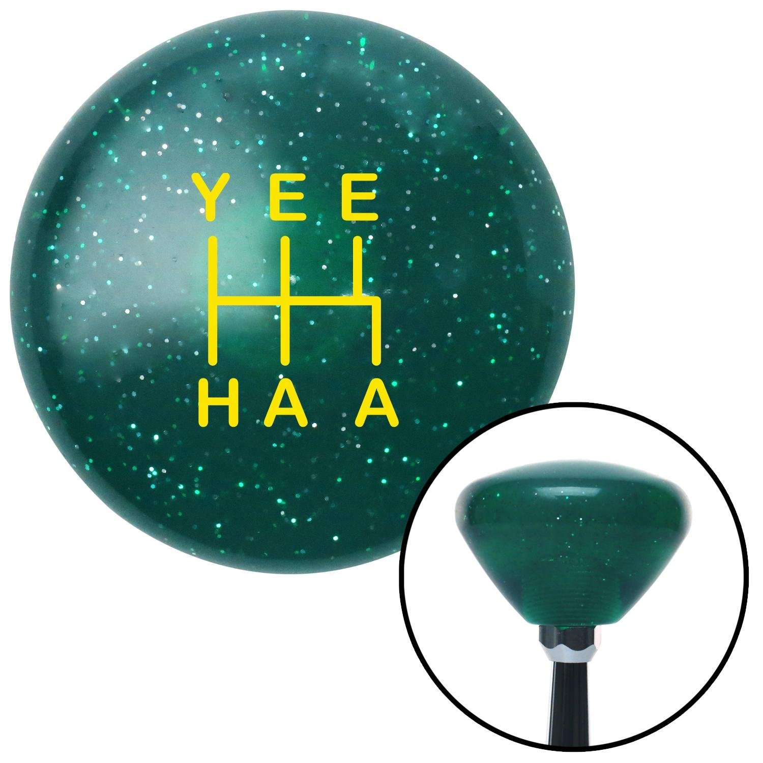 American Shifter 302151 Shift Knob Yellow YeeHaa 5 Speed Green Retro Metal Flake with M16 x 1.5 Insert