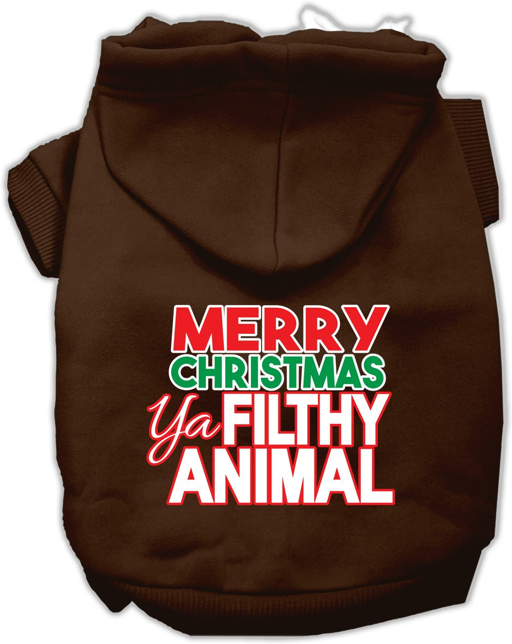 Mirage Pet Products 62-148 XLBR Ya Filthy Animal Screen Print Brown Pet Hoodie, X-Large