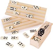 Domino Party Set - 28 Double Six Dominoes, 2 Plastic Trays, & Wooden Storage Box - Retro Game Piece Tile Holder Bundle - Cla