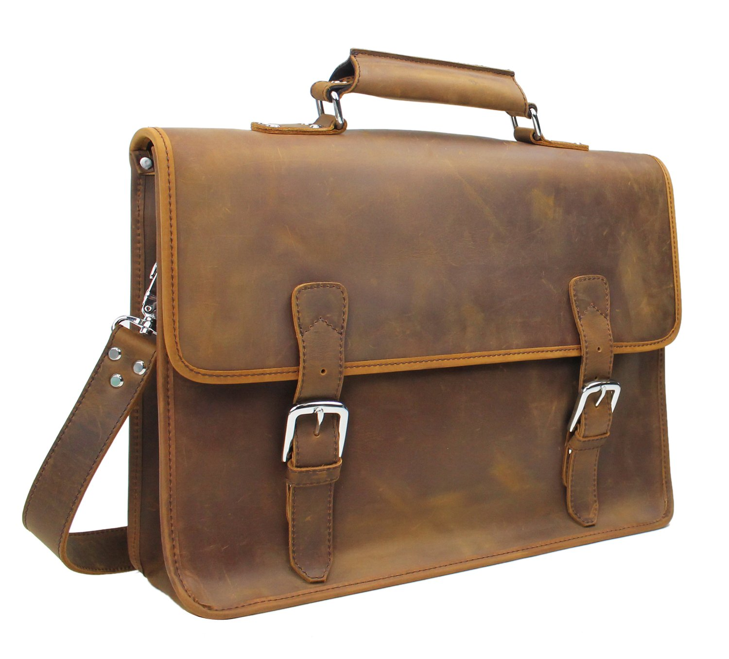Vintage Full Grain Leather 18'' Extra Large Cowhide Leather Messenger Laptop Bag L05 Vintage Brown
