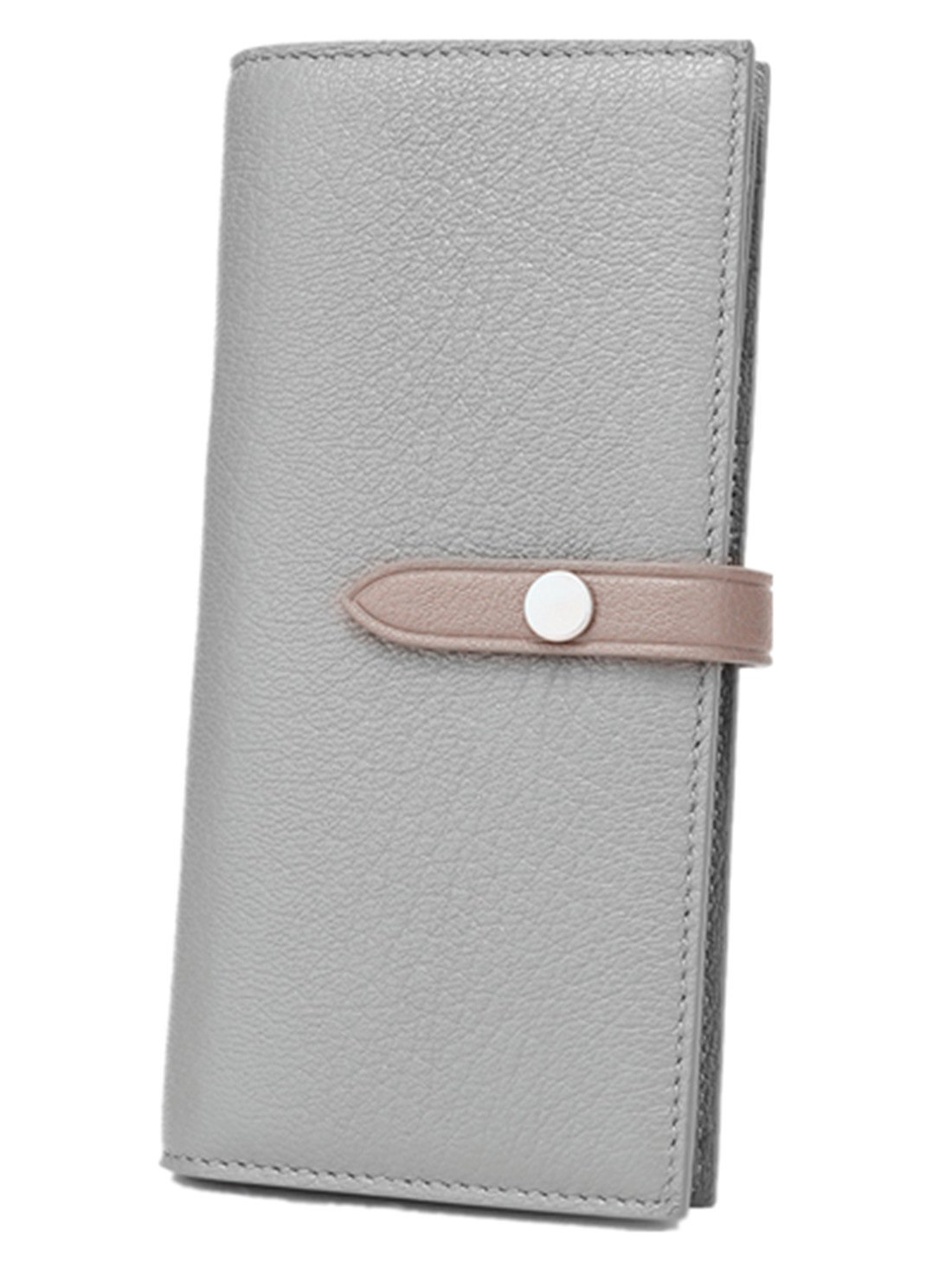 Women's Large Capacity RFID Leather Trifold Wallet Card Holder Buckle Clutch Purse, Light Grey