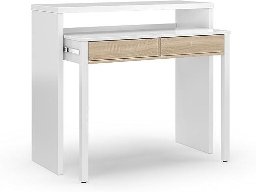 Mesa escritorio desplazante blanco artic y roble canadian para ...